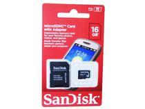 Cartão de Memória SanDisk Micro SDHC com Adaptador 16GB -