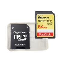 Cartão Memória SDXC 64GB Extreme 150MBs Sandisk ADPT e Case -