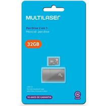 Cartao micro sd 32 gb classe 10 + pen drive adaptador mc163 - Multilaser