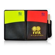 Cartão para Árbitro de Futebol Juiz Profissional Padrão FIFA c/ Capa em Couro -