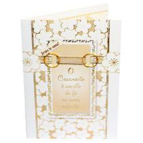 Cartão Para Presente com Envelope Branco e Dourado Aliança - O Casamento é Um Ato de Fé - Presentes Evangélicos