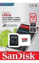 Cartão Sandisk Ultra 100mb/s 64gb Micro Sd Lacrado +adptador -