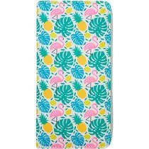 Carteira Estampada de Folhas e Abacaxi - Branco - Glamour Pink