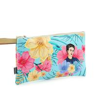 Carteira Flat Estampada Média Frida Kahlo Floral Azul - Logo Art
