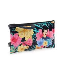 Carteira Flat Estampada Média Frida Kahlo Floral Preta - Logo Art