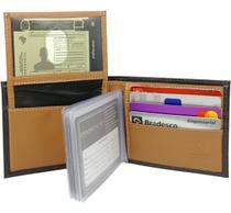 Carteira Masculina em Couro com porta cartões e Duas Divisões Cédulas ref.912 - Kartmen
