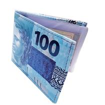 Carteira Masculina Estampada Nota Cem Reais Cédula Super Slim Porta Documento Dinheiro Dolar Real Executiva - Sobrinhos Moda