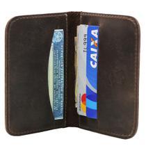 Carteira Masculina Pequena Slim Porta Cartões em Couro Café - John Fly
