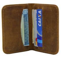 Carteira Masculina Pequena Slim Porta Cartões em Couro Marrom Claro - John Fly