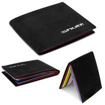 Carteira Masculina Shutt Pequena Porta Cartão CNH RG Cédula Couro E Plástico Preto E Vermelho Em U -