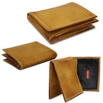 Carteira Masculina Shutt Pequena Porta Cartão CNH RG Cédulas 100% Couro Marrom Whysky Em L -