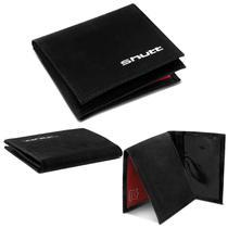 Carteira Masculina Shutt Pequena Slim Porta Cartão CNH RG Cédula 100% Couro Preto Abertura Em L -