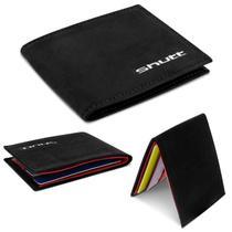 Carteira Masculina Shutt Pequena Slim Porta Cartão CNH RG Cédula 100% Couro Preto E Vermelho Em U -