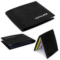 Carteira Masculina Shutt Pequena Slim Porta Cartão CNH RG Cédula Couro E Plástico Preto Em U -