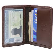Carteira Masculina Slim Em Couro Porta Cnh Porta Cartões Café Liso - John Fly