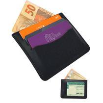 Carteira Masculina Slim Pequena Couro Cnh Cartões Preta nz060 - Nzz