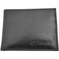 Carteira Porta Cartão de Couro Slim Pequena Fasolo Moderna Preta -