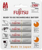 Cartela c/ 4 pilhas BRANCAS AA  recarregáveis Fujitsu Standard, modelo HR-3UTC - Fdk
