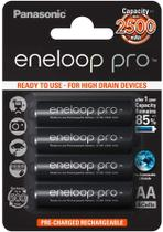 Cartela c/ 4 pilhas PRETAS AA recarregáveis Panasonic Eneloop Pro, modelo BK-3HCDE -