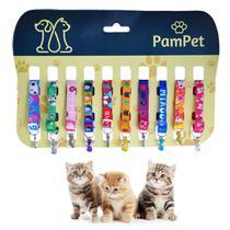 Cartela Coleira Gato com Pingente Gatinho - 10 unidades - Pampet