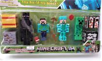 Cartela minecraft com 4 personagens mais acessórios (5465) - não informada