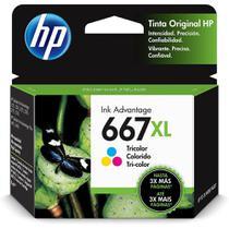 Cartucho HP 667XL Colorido Original (3YM80AL) Para HP Deskjet 2376, 2774, 2776, 6476 -