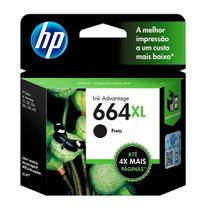 Cartucho Original HP  664XL Preto F6V31AB - 2136 / 3636 / 1115 / 4536 / 4676