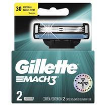 Cartuchos Para Aparelho De Barbear Gillette Mach 3 3 Lâminas Com 2 Unidades -