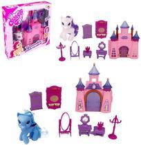 Casa Casinha Castelo Com Moveis + Unicornio Poney E Acessorios 9 Pecas Na Caixa Wellkids - Wellmix