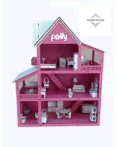 Casa Casinha De Boneca + kit 30 Moveis Em Mdf Pintado Rosa - Casa Da Polly Rosa