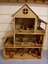Casa Casinha De Boneca Polly Pocket Lol + 25 Mini Móveis - Doce Arte Em Madeira