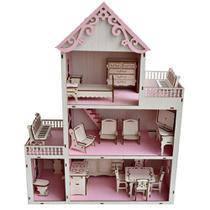 Casa De Boneca Em Madeira Com 21 Mini Móveis. - Ciranda Criativa