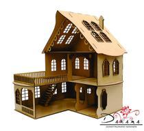 Casa de bonecas para mini bonecas compatível com lol e polly modelo cindy mdf natural - darama -
