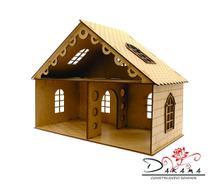 Casa de bonecas para mini bonecas compatível com lol e polly modelo lily mdf natural - darama -