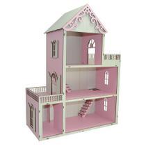 Casa Para Boneca Polly Pintada Rosa Bebê e Branco Trabalhado 60x55x15,5 Mdf Madeira - Atacadão Do Artesanato Mdf