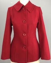 casaco acinturado lã feminino - vermelho M - Alex