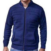 casaco cardigan de tricot suéter de inverno jaqueta masculina azul - g - Imperio trico