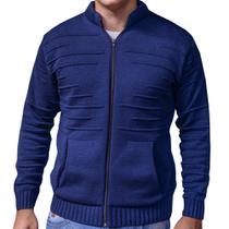 casaco cardigan de tricot suéter de inverno jaqueta masculina azul - p - Imperio trico