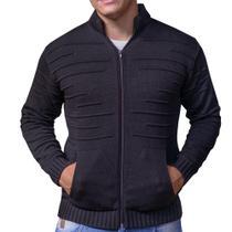 casaco cardigan de tricot suéter de inverno jaqueta masculina preto - g - Imperio trico