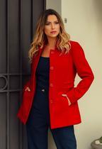 Casaco lã Sobretudo feminino Vermelho plus size - Ref. 2109 - Seuvestido