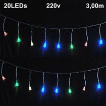 Cascata Luminosa 20 LEDs Sino 220v 3m Fio Transparente 1813 - Wmt