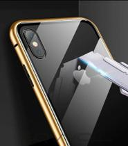 Case Magnético Luxo iPhone 8 Borda Dourada + Película de Vidro - New Case