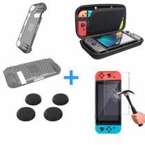 Case Nintend Switch + Película Vidro + 4 Grips + Capa Silicone -