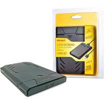 Case USB 3.0 para HD Externo Fast 5Gbps Gaveta para SSD HDD SATA II 2.5 Suporta até 3TB c/ LED Colorido + Capa Protetora - Infokit