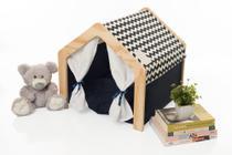 Casinha Cama Tenda Para Cachorro Gato Azul Com Almofada e Madeira - Pet Castle
