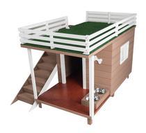 Casinha Casa de Cachorro Madeira com Deck e Varanda Dog House -