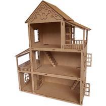 Casinha casa de madeira MDF  Boneca tipo Polly Pocket CN4SM - Companhia do mdf