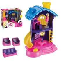 Casinha De Boneca Judy Estilo Polly Sala De Tv + Escritório - Samba Toys