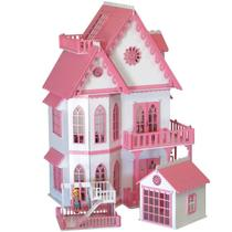 Casinha De Boneca MDF Rosa 4 Andares Garagem Parquinho 24 Móveis Casa Para Polly E LOL Sulartes -