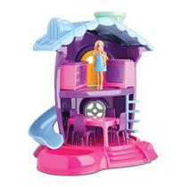 Casinha De Boneca Polly + Cozinha 10 Móveis + Boneca Judy Barbie - Samba Toys